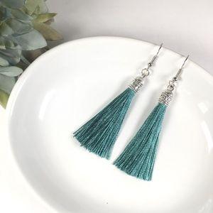 Jewelry - Peacock Green Tassel Drop Earrings